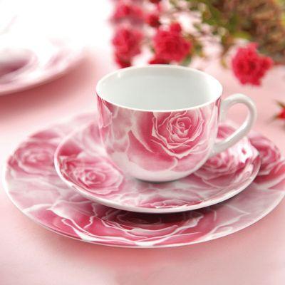 سرویس چینی 17 پارچه چای خوری رزتا صورتی سری ایتالیا اف