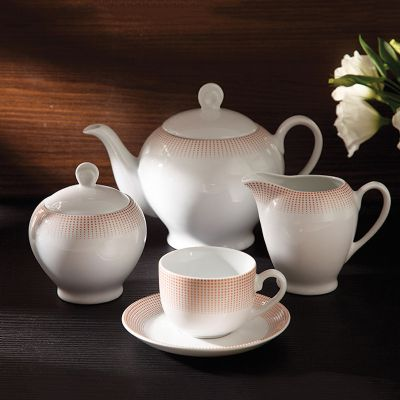 سرویس چینی 17 پارچه چای خوری مریدین رزگلد سری ایتالیا اف
