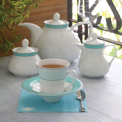 سرویس چینی 18پارچه چای خوری ژانتی فیروزه ای سری شهرزاد